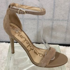 Sam Edelman taupe suede ankle strap heels
